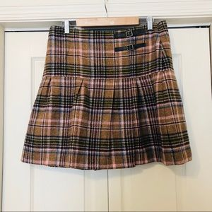 Boden tan & pink plaid wool kilt skirt